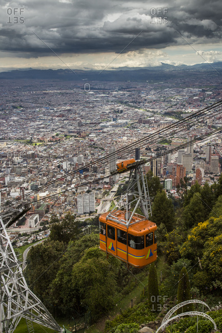 Bogota, Colombia-  December 4, 2013: Cable car and view of Bogota