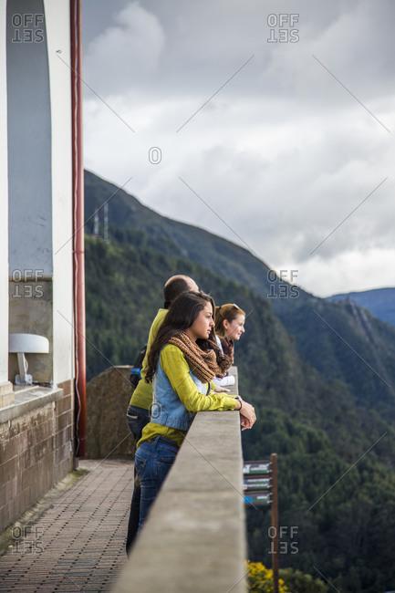 Bogota, Colombia - December 4, 2013: Visitors enjoy view of Bogota