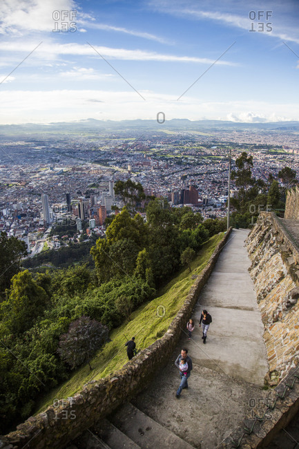 Bogota, Colombia - December 4, 2013: Downtown Bogota, Colombia from Mount Monserrate
