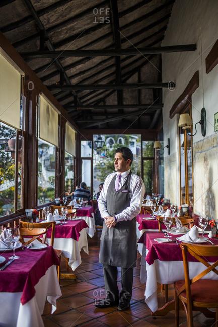 Bogota, Colombia - December 4, 2013: Restaurant porch in Bogota