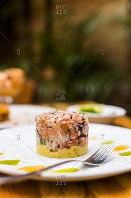 Fish dish in Bogota, Colombia restaurant