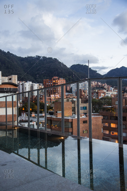Bogota, Colombia - December 5, 2013: A view from the rooftop bar of B.O.G. Hotel of downtown Bogota at dusk