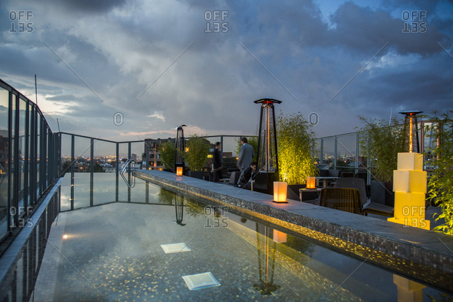 Bogota, Colombia - December 5, 2013: People at the rooftop bar of B.O.G. Hotel downtown Bogota