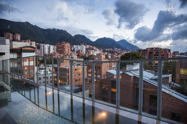 Bogota, Colombia - December 5, 2013: Rooftop bar of B.O.G. Hotel downtown Bogota