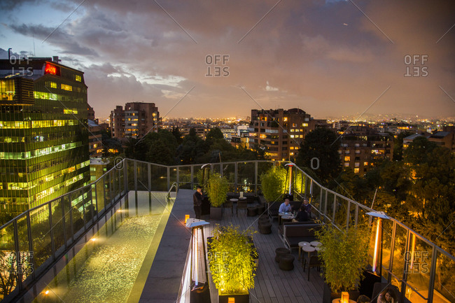 Bogota, Colombia - December 5, 2013: People enjoying the view at the B.O.G. Hotel downtown Bogota