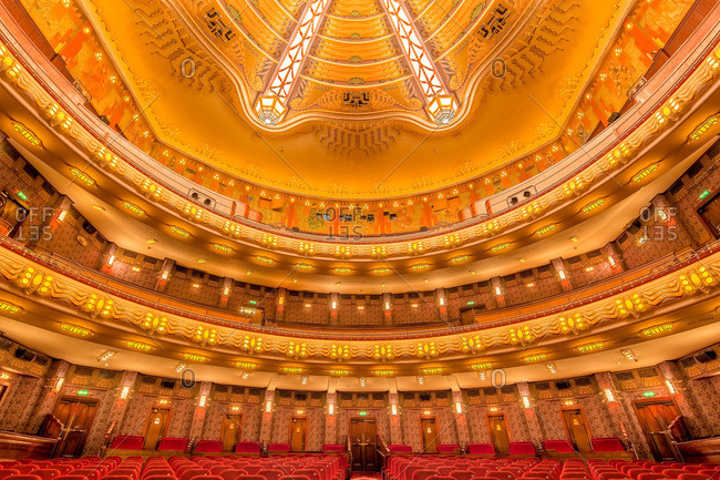 Amsterdam, Netherlands - June 16, 2015: Interior of the famous Tuschinski theater, now a Pathe cinema