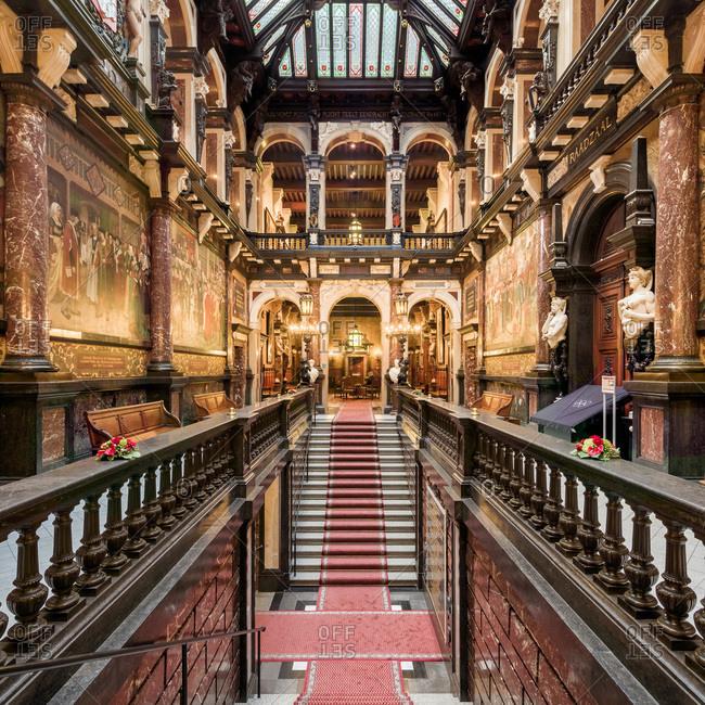 Antwerp, Belgium - June 8, 2015: Interior of the monumental City Hall