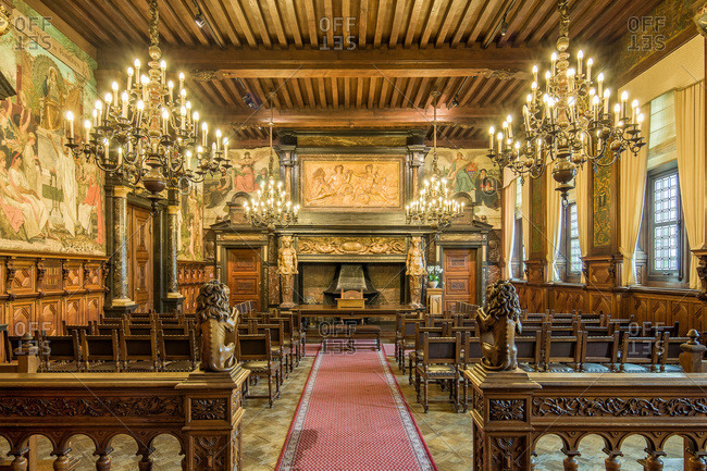 Antwerp, Belgium - June 8, 2015: Wedding room of the monumental City Hall