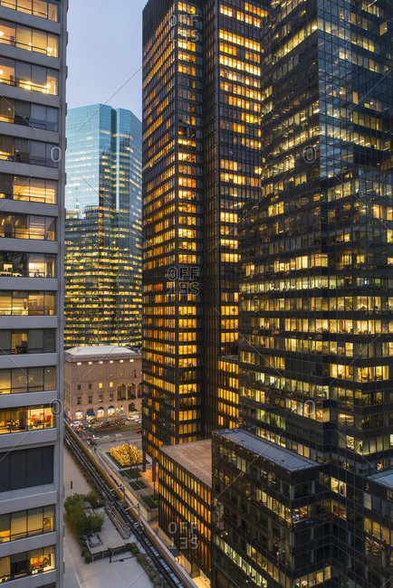 New York, NY, USA - December 12, 2014: Office buildings in New York City, USA