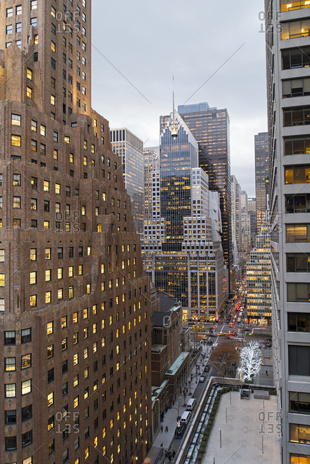 New York, NY, USA - December 12, 2014: Skyscrapers in New York City, USA