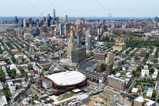 New York, NY, USA - August 16, 2014: Aerial view of the Barclays Center in Brooklyn, NYC, USA