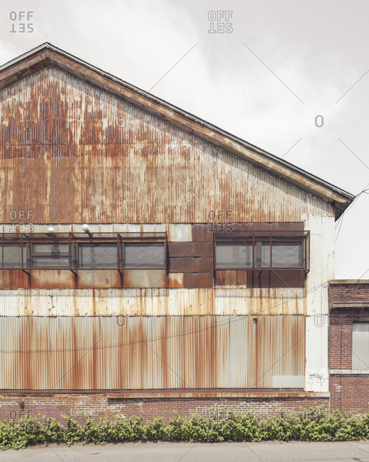 Exterior of a rusty warehouse