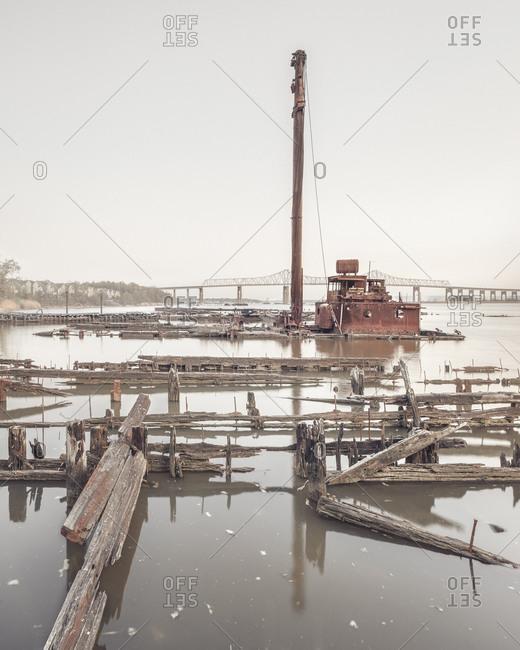 Boat graveyard in Staten Island
