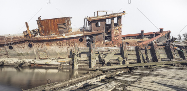 Corroded tugboat in Staten Island