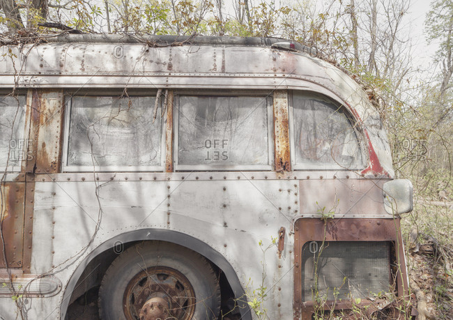 Decaying van in a junkyard