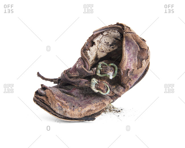 Decayed leather shoe