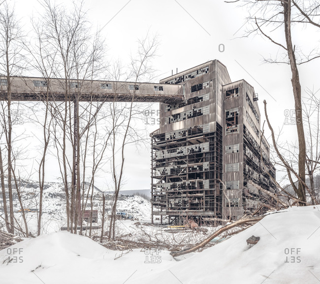 Abandoned coal breaker mid-demolition