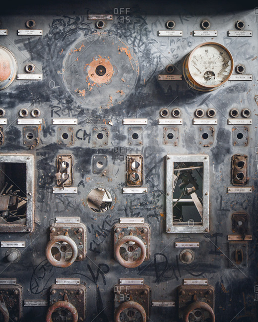 Control panel of an abandoned coal breaker