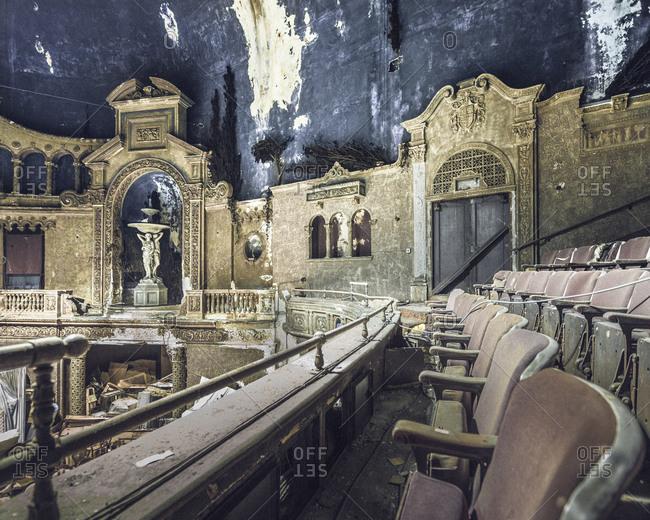 Balcony of an abandoned movie palace