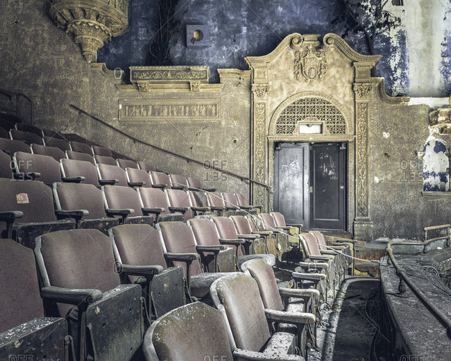 Exit in the balcony of an abandoned movie palace