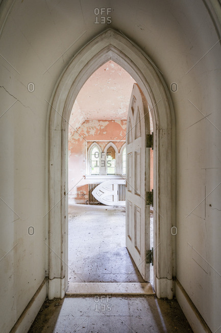 Gothic arched doorway in an abandoned castle in upstate New York