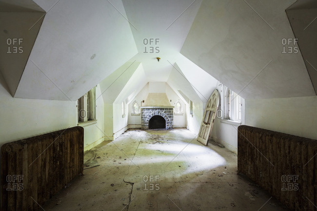 Empty room in an abandoned castle in upstate New York