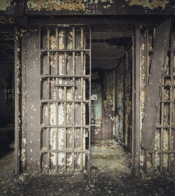 Empty cell in an abandoned jail