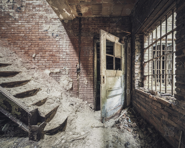 Dusty staircase in an abandoned jail
