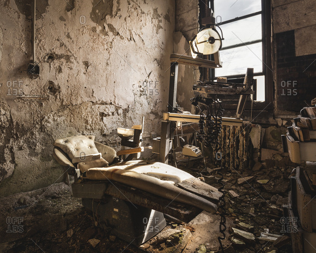 Decaying dentist's office inside an abandoned asylum