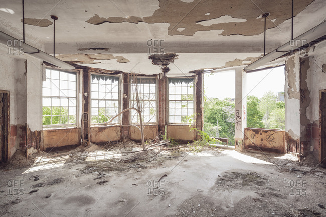 Empty solarium in an abandoned tuberculosis hospital