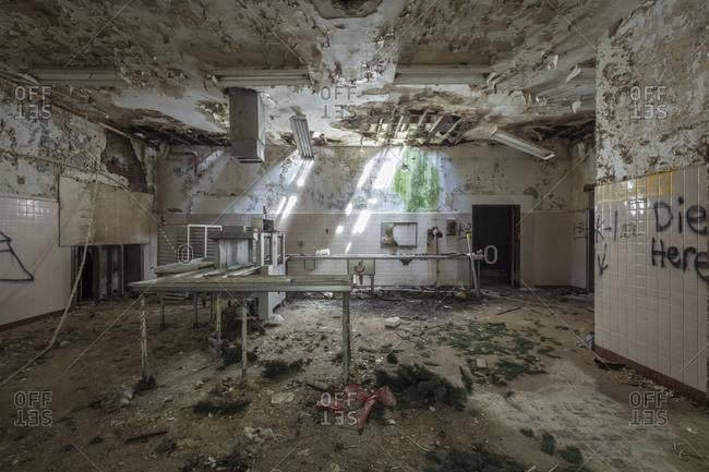 Cafeteria of an abandoned insane asylum