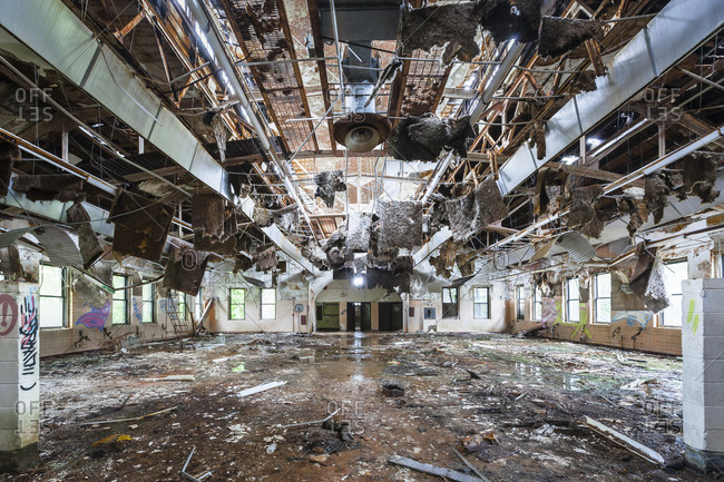 Cafeteria in an abandoned asylum