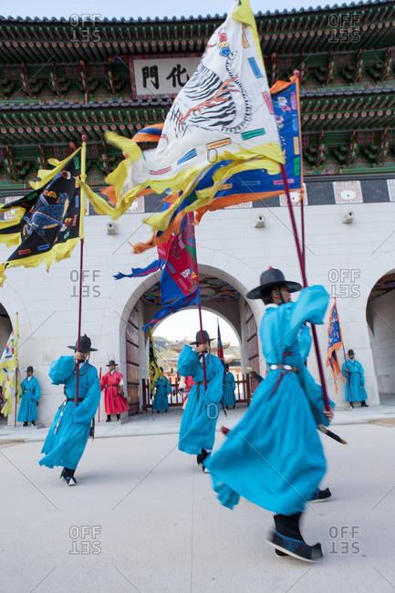 Seoul, South Korea - June 24, 2015: Korean soldiers in traditional