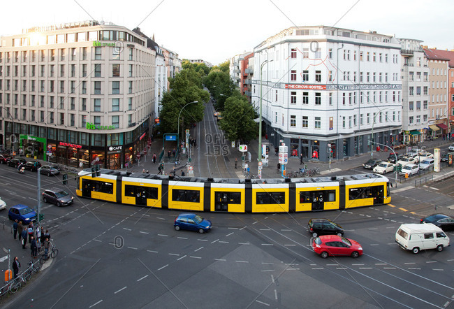 Berlin, Germany - June 19, 2015: Tram at a busy intersection in Berlin