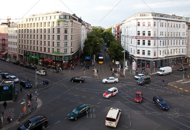 Berlin, Germany - June 19, 2015: Busy intersection in Berlin