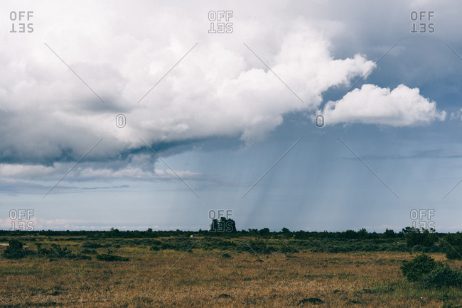 Oland, Sweden landscape with rain storm in distance
