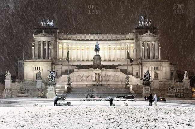 The Altare della Patria in Rome during snowstorm