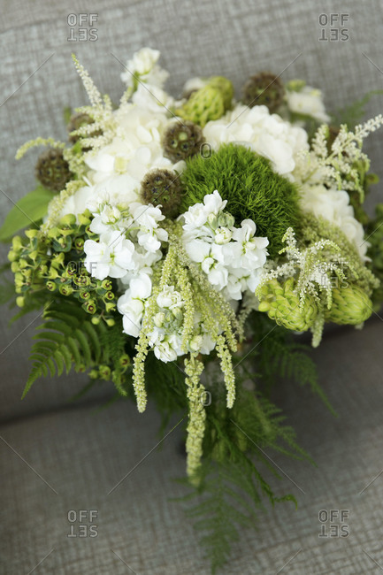 Bridal bouquet with white flowers and ferns