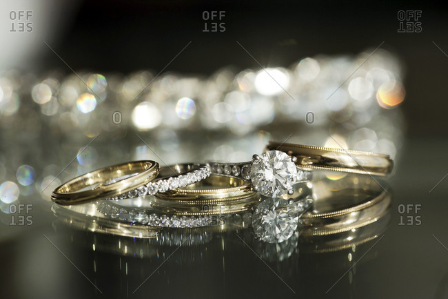 Set of wedding rings on a table