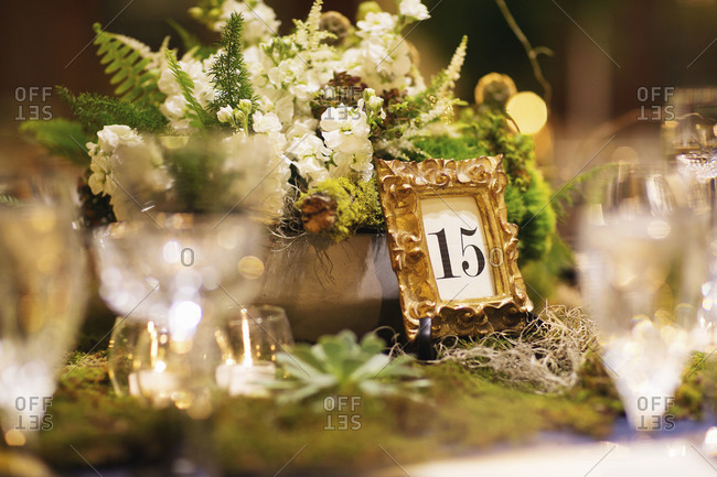 Table number on a wedding table