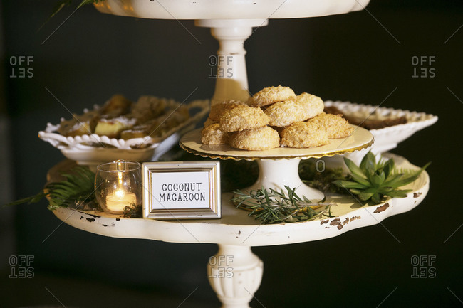 Coconut macaroons served on a dessert stand