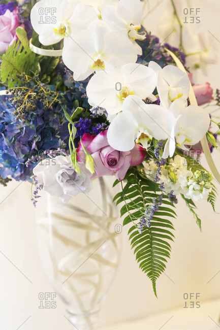 Wedding flower bouquet with white orchids
