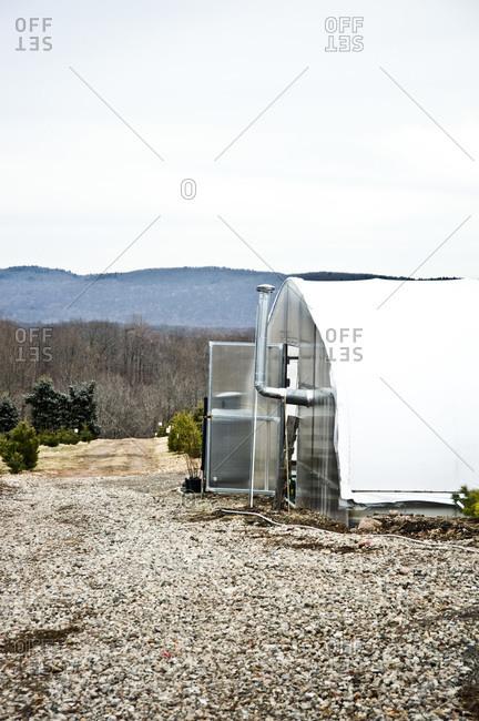 A greenhouse in a nursery in Conneticut