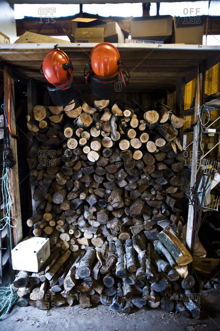 A pile of logs in a shed in Conneticut