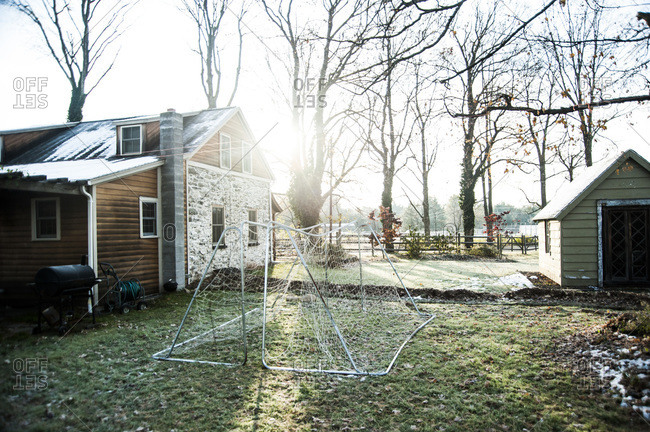 Soccer nets outside of a farmhouse
