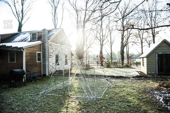 Soccer nets outside of a farmhouse