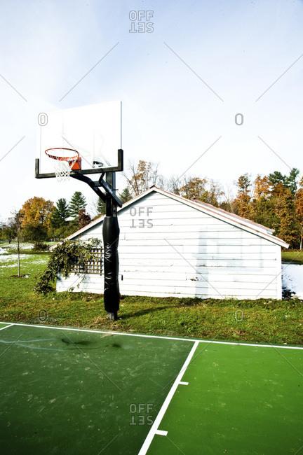 A basketball court on a farm