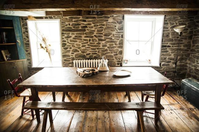 Accord, NY - October 31, 2011: An old farmhouse table