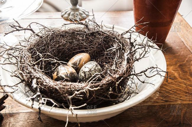 A decorative bird's nest
