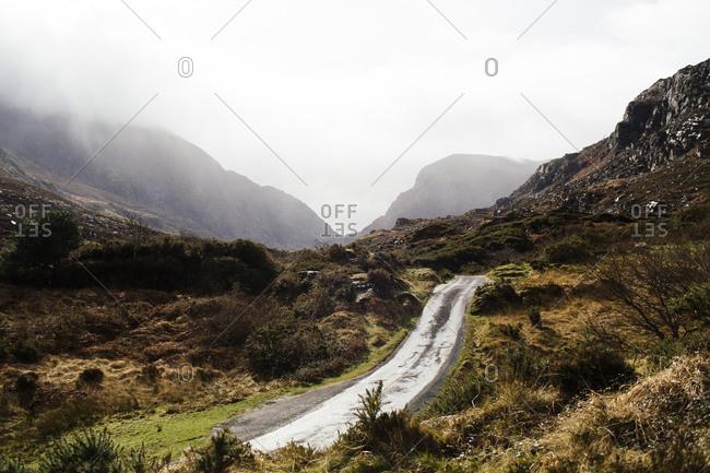 Side road in coastal Ireland landscape